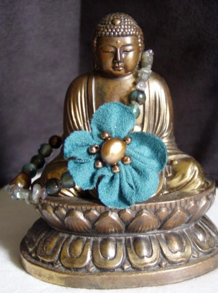 Turquoise Flower and Freshwater Pearl Bracelet