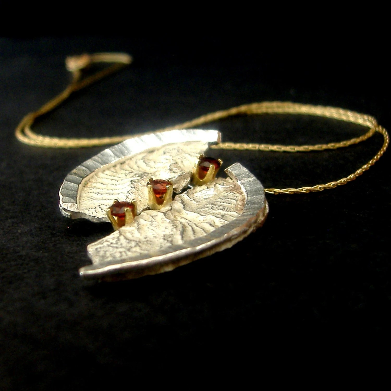 Sterling Silver, Reticulated Silver, 14 Karat Gold, Almandine Garnet