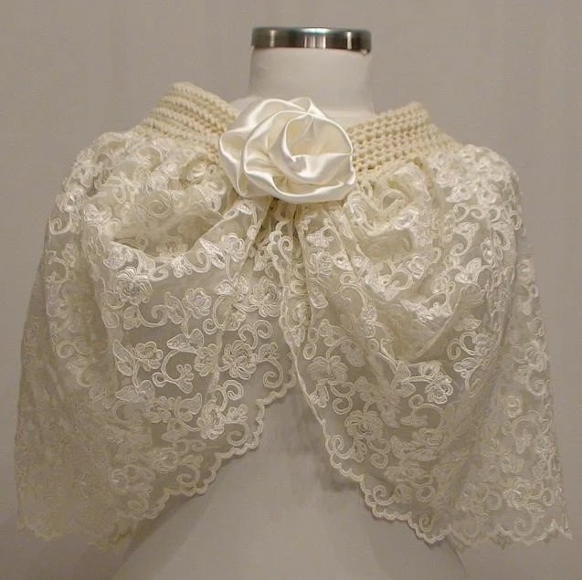 French Lace Ivory Bridal Capelet