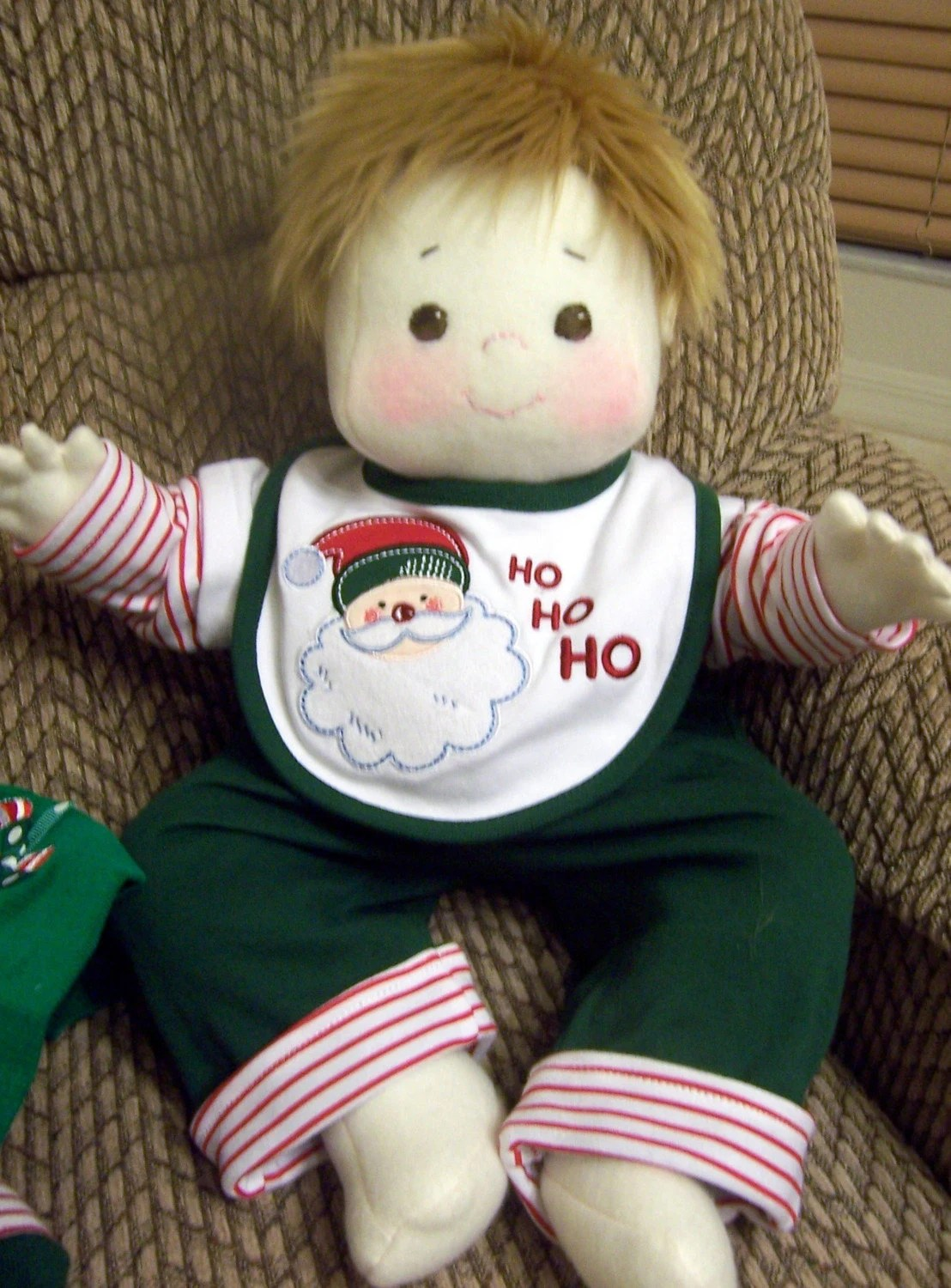 Christmas Kids, a Soft Sculpture, Child Friendly, Jointed, Brother and Sister Doll - Brother Doll