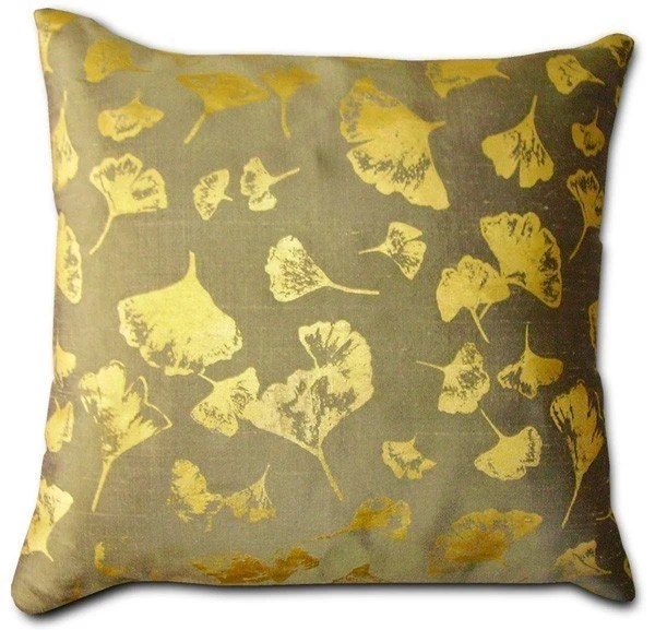 Ginkgo Sage Pillow, silk