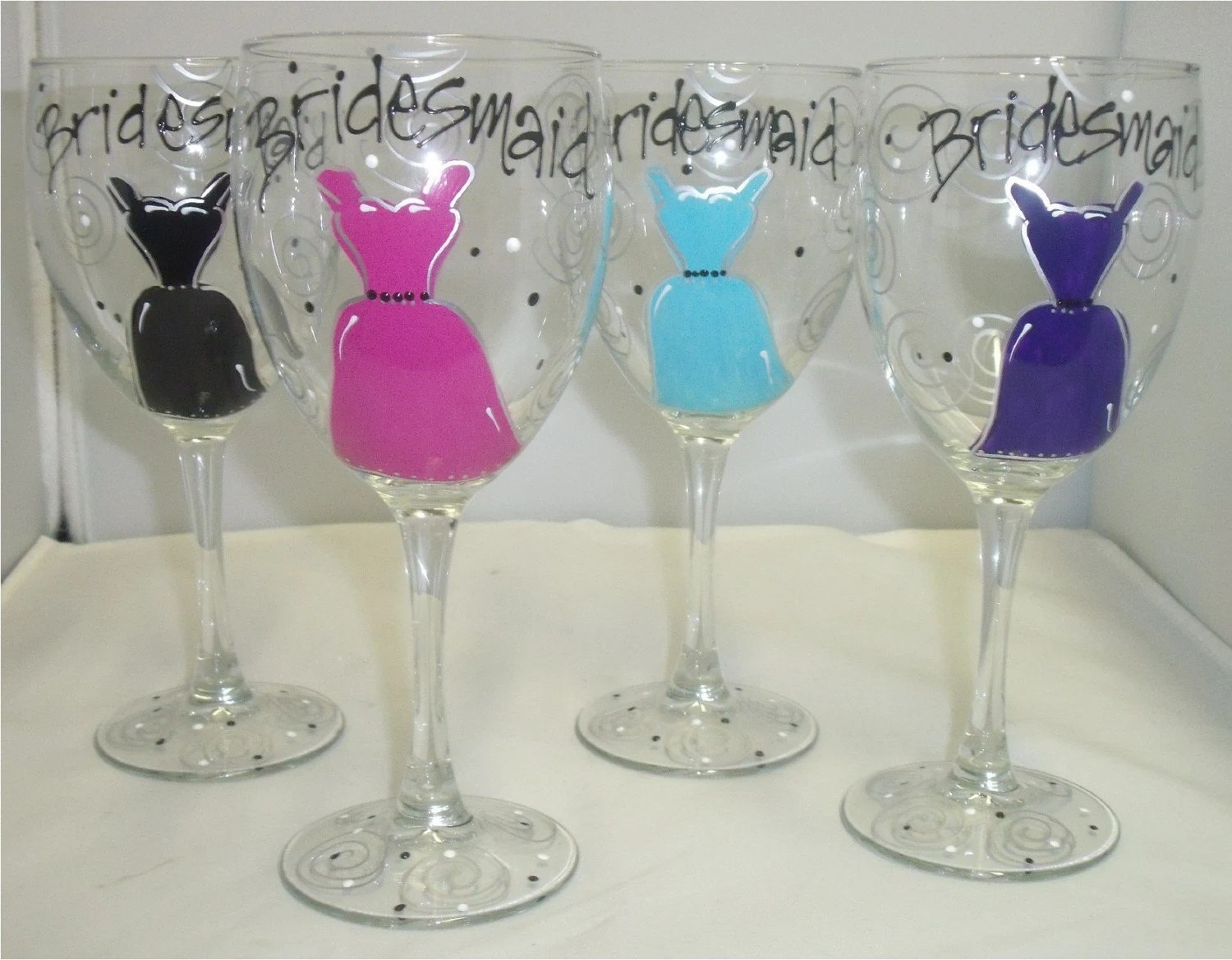Bridesmaid Dress Bridal Party Hand Painted Wine Glasses - 2 Glasses