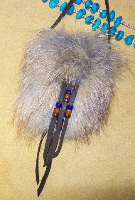 Coyote And Chocolate Deerskin Medicine Bag Pouch