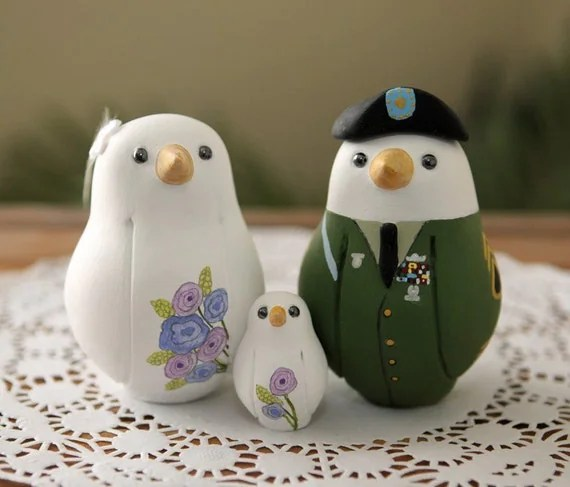 Custom Wedding Cake Topper - Medium Military Love Birds with Hand Painted Bouquet