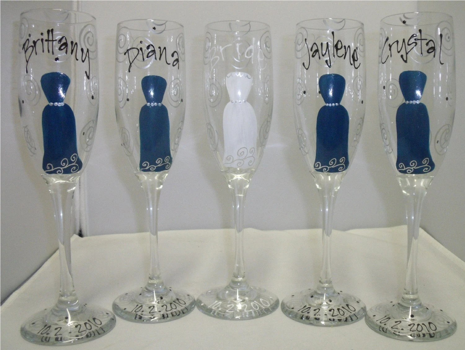 Bridesmaid Wedding Party Hand Painted Champagne Flutes - 5 Glasses
