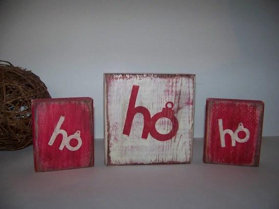 Primitive Ho Ho Ho Red and White Christmas Blocks