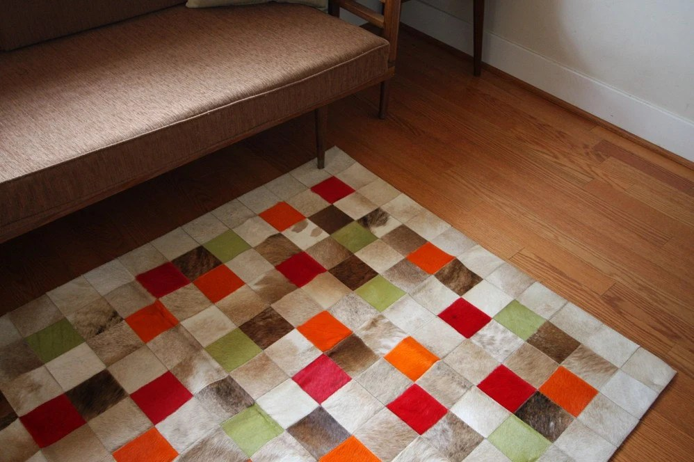 Patchwork Hide Rug - Beige with Dyed Squares