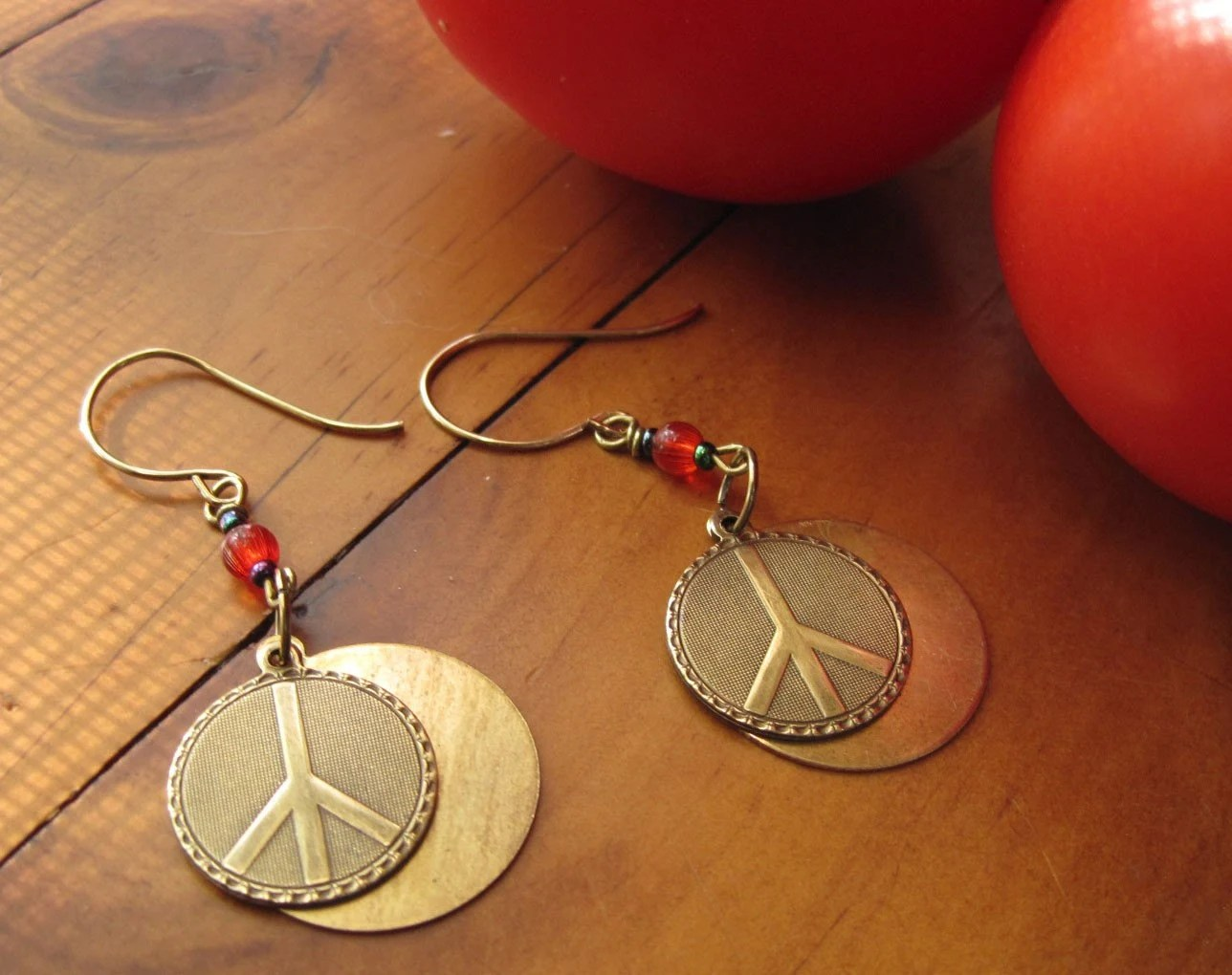Brass peace sign earrings