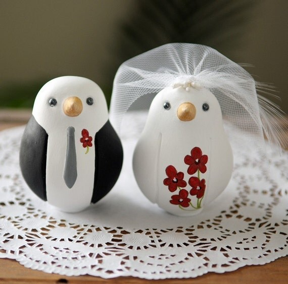 Custom Wedding Cake Topper - Medium Hand Painted Love Birds with Painted Bouquet