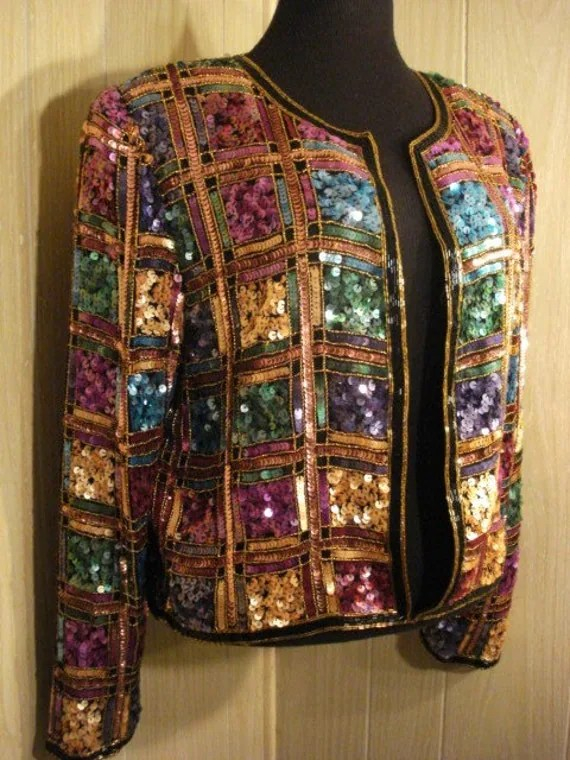 Vttg. Sequine Beads Silk Glam Jacket Rockabilly M L