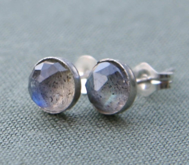 Labradorite and Sterling Silver Storm Stud Earrings
