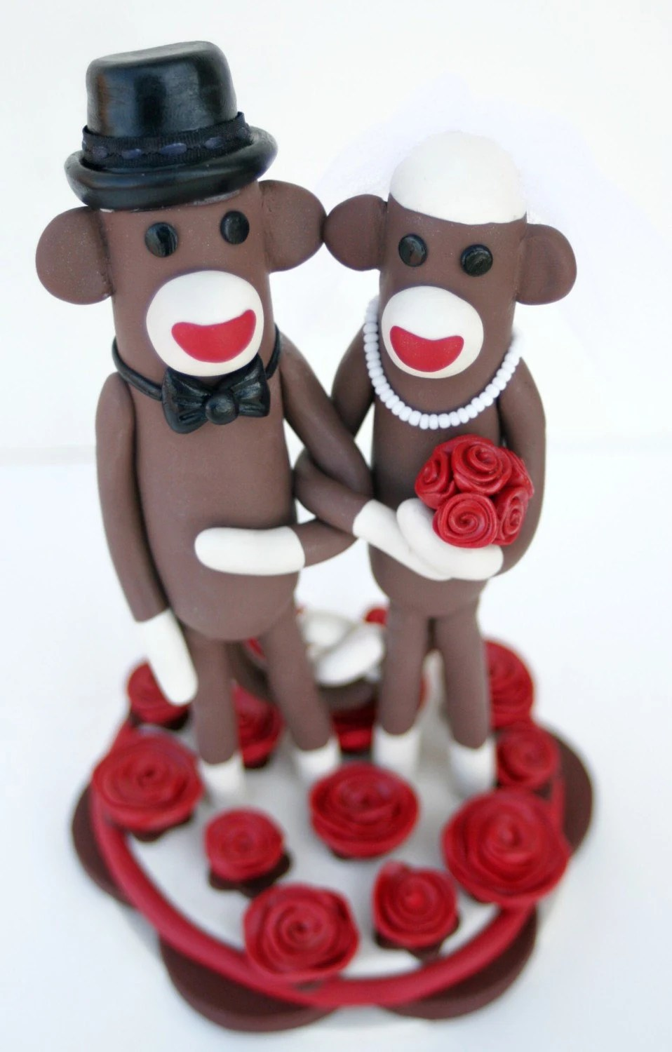 Sock Monkey Wedding Cake Topper Custom Made in Your Colors 6 inches tall
