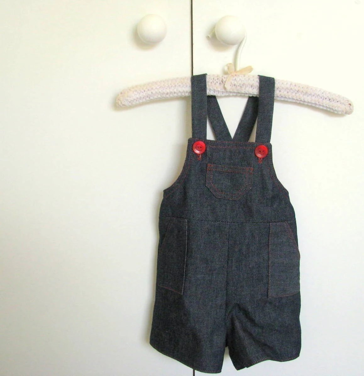 Denim and Red Classic Playtime Baby Overalls