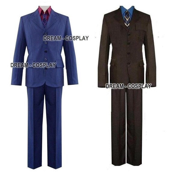 Both the Brown and Blue pinstripe suits.