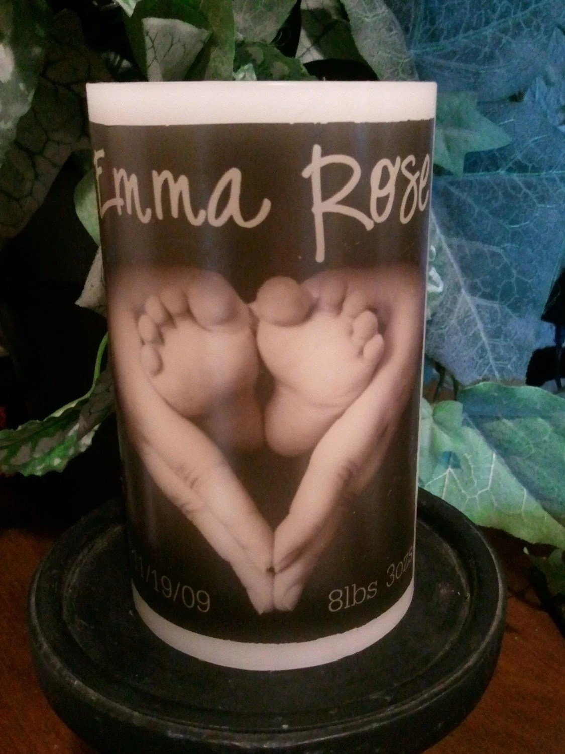 Personalized New Baby Flameless Candle with Timer