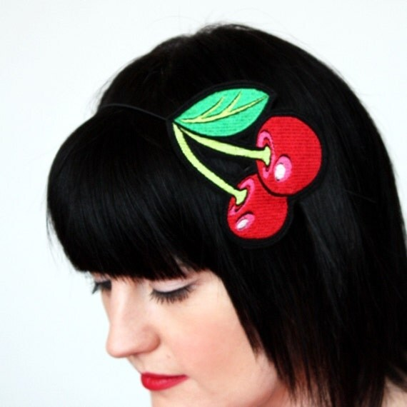 Cherries embroidered headband in red with hints of shocking pink