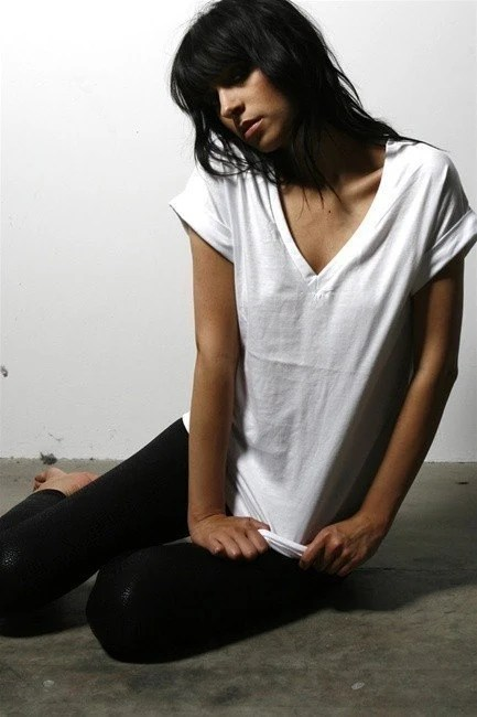 Vneck cotton shirt womens essential white tee