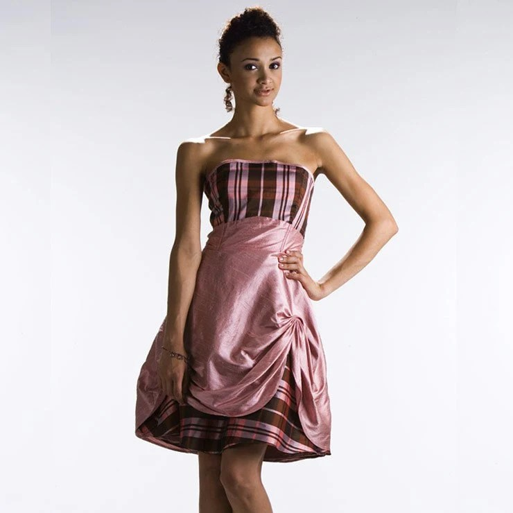 Sonia Dusty Rose-Pink Dupioni and Henna Plaid 50's Party Dress