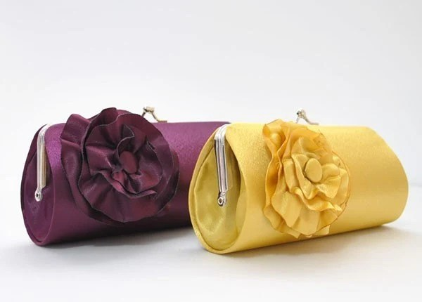 Set of 4 Small Satin Purse with the flower..Choose your colors