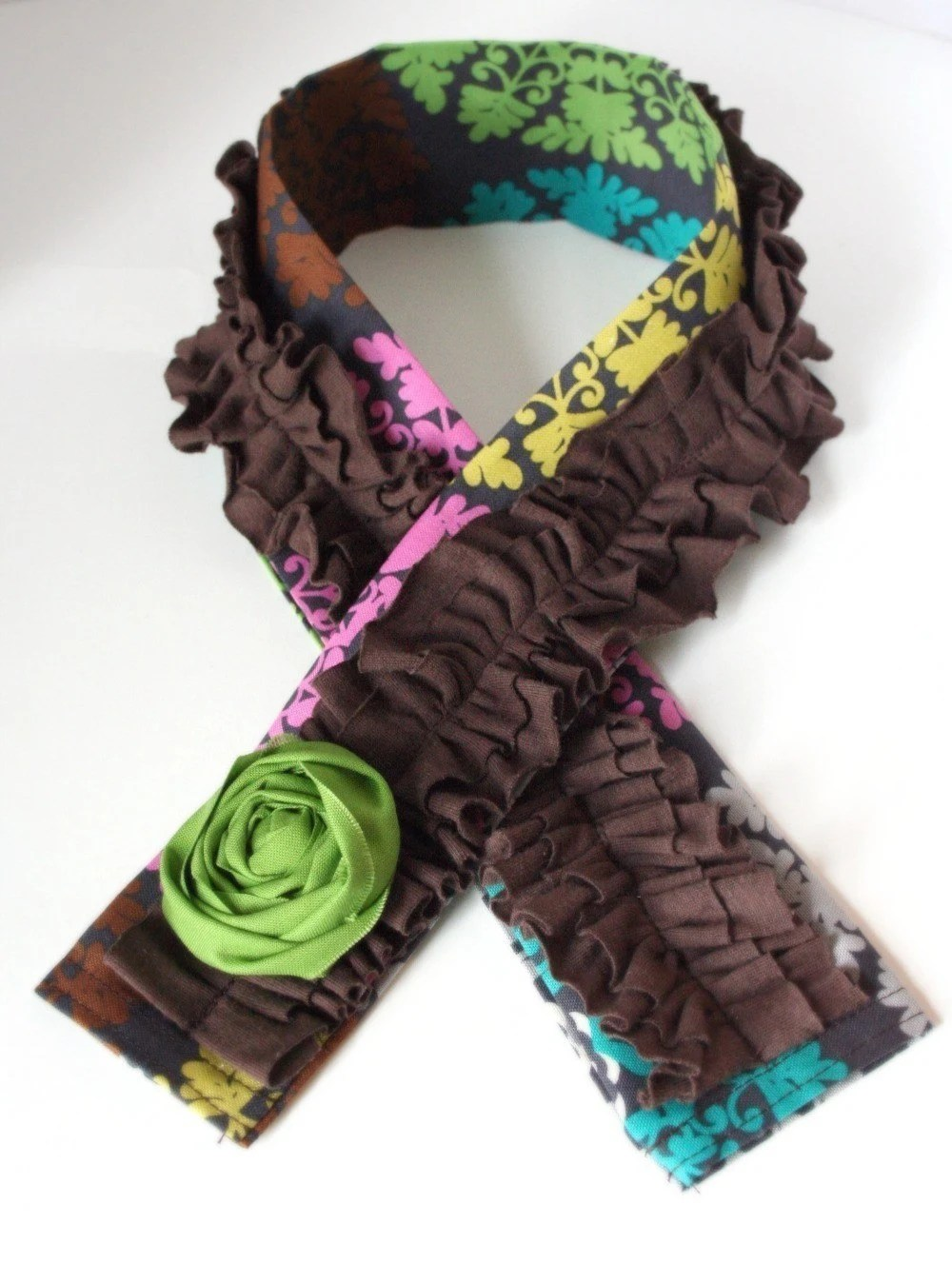 Free Spirit....dSLR Camera Strap Cover....Multicolor with Brown RUFFLE and Rosette Detail