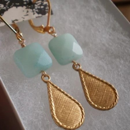 Amazonite Earrings with Vintage Drop SALE