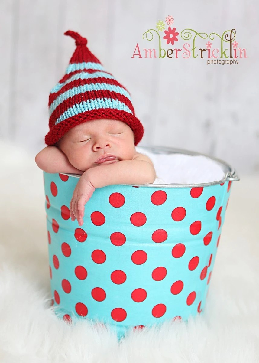 RED and Turquoise Infant Striped Baby Hat Photo Prop 0-3 months