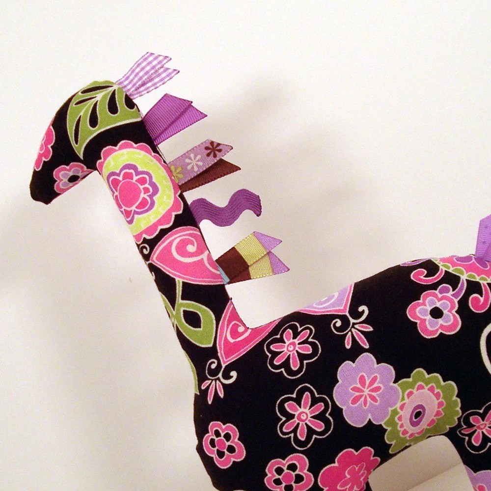 Handmade Stuffed Sensory Giraffe with Colorful Ribbon Accents Brown with Pink and Purple Flowers