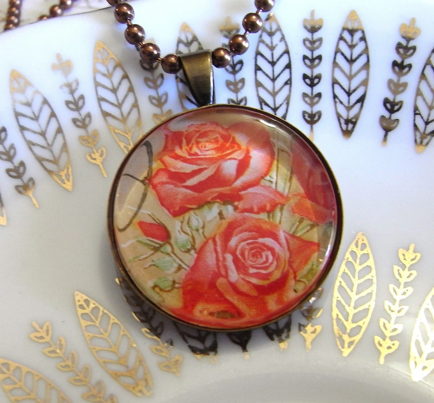 Rose Postage Stamp Jewelry. Altered Art Necklace. Handmade Starzyia on etsy
