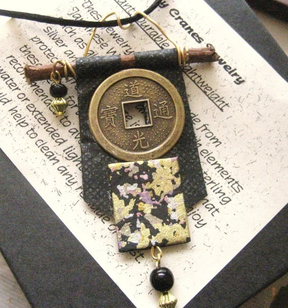 Japan Aid Relief japanese chiyogami washi paper kimono scroll pendant by cra1nes on etsy