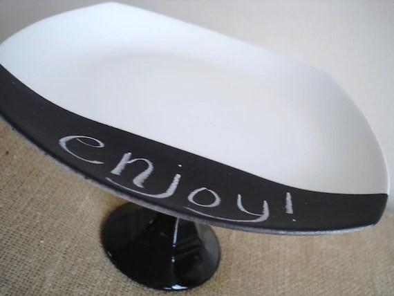 Chalkboard Dessert Pedestal-Black and White Simplicity