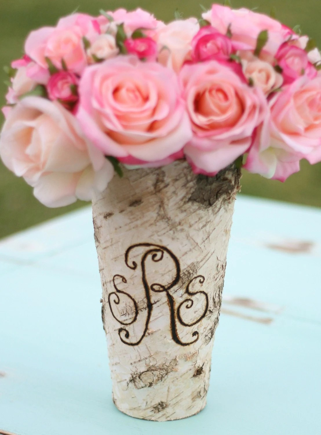 Personalized Custom Engraved Monogrammed Tall Birch Bark Wood Vase Valentines Day Gift spring summer  Dinner Party Centerpiece Hostess Gift Rustic Beach Lake Cottage Natural Modern Home Decor Wood Symbolizes 5 and 6 Anniversary Wedding Decoration