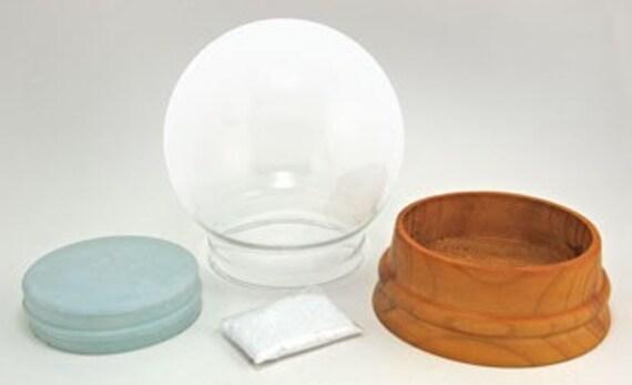 Extra-Large Build Your Own DIY Snow Globe Kit - wood base, glass globe