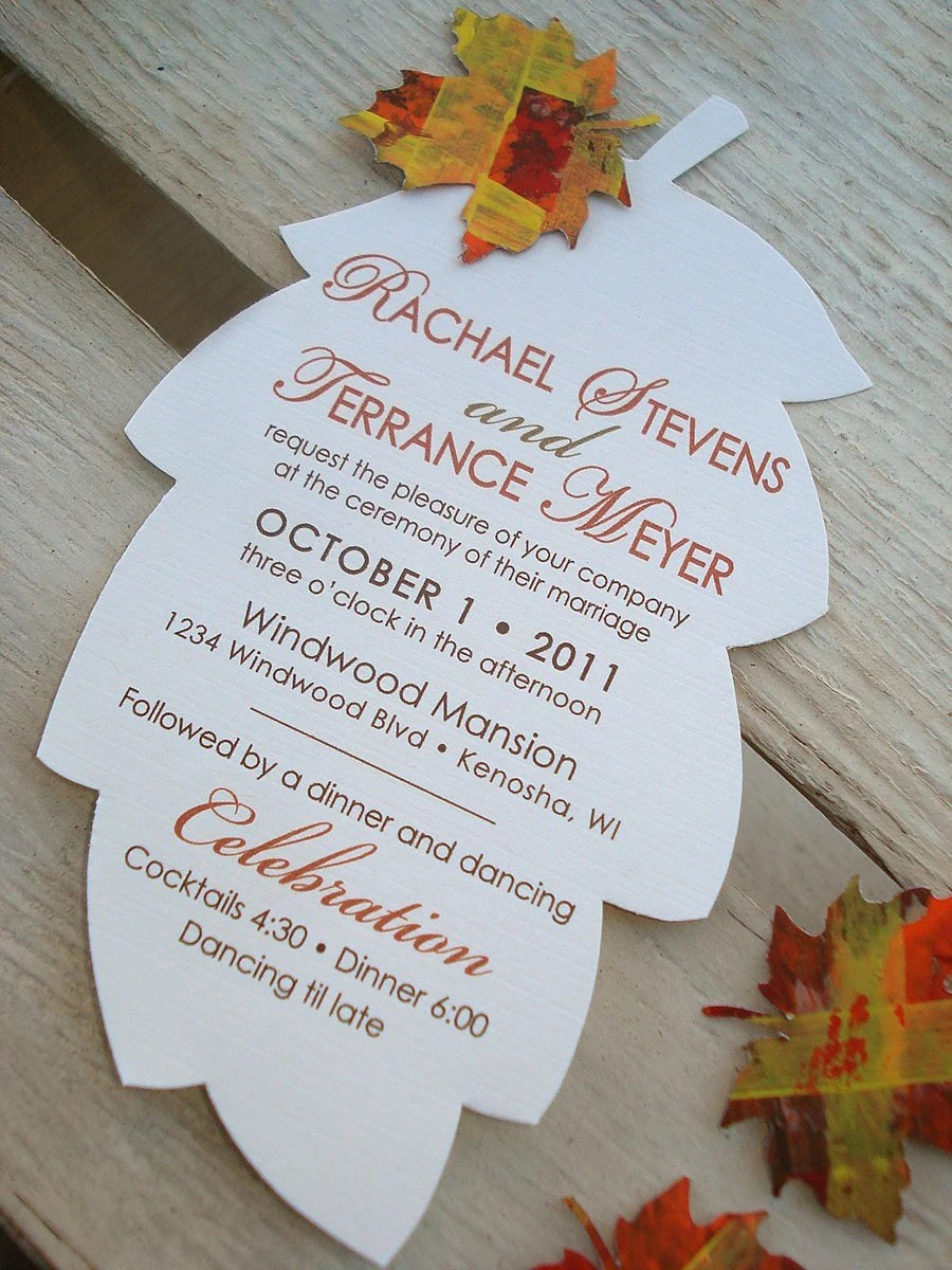 FALLING IN LOVE Hand Cut Autumn Leaf Wedding Invitation - Sample