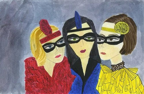 Masquerade.  Original watercolor painting by Vivienne Strauss.