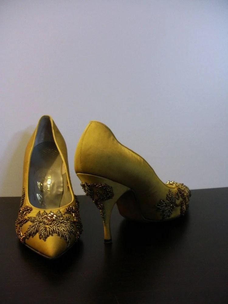 Amazing 1950s Ornate Hand Beaded Shoes by GiGi