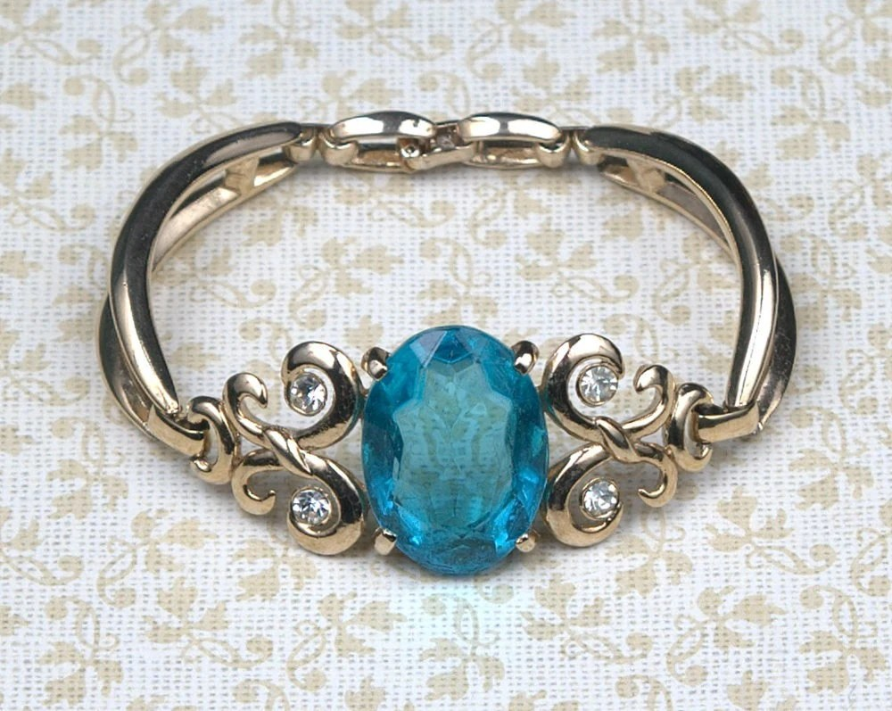Vintage Blue Rhinestone and Gold Bracelet