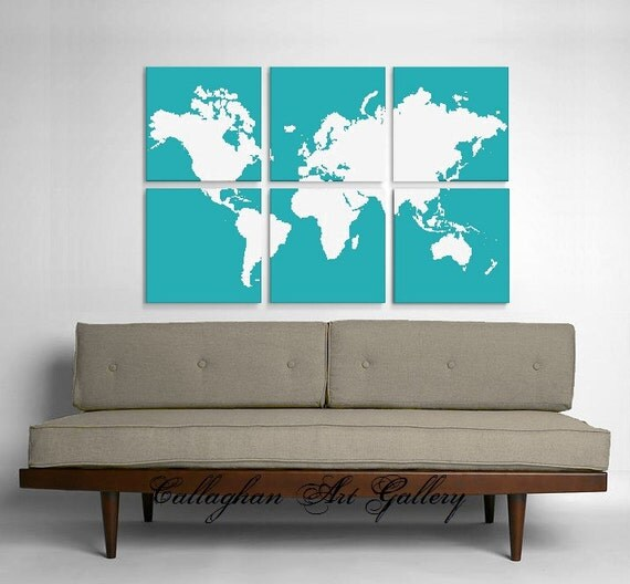 Custom World Map Collection of 6 - Screenprinted by hand by CallaghanArtGallery