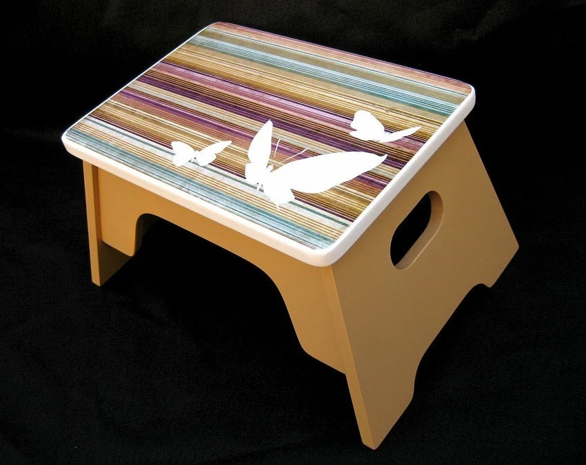 Butterfly Children's Step Stool by Custom Climbers (Violet, Caramel, Blue-Green)