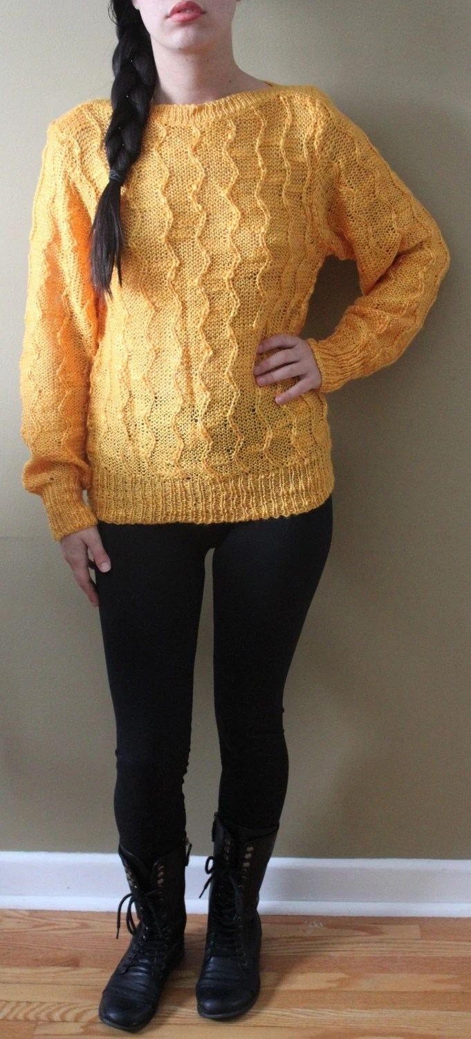 Vintage Mustard Yellow Boat Neck Sweater