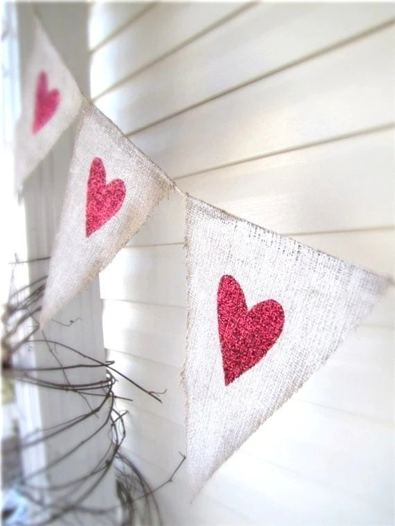 White Painted Burlap with Red Glitter Hearts