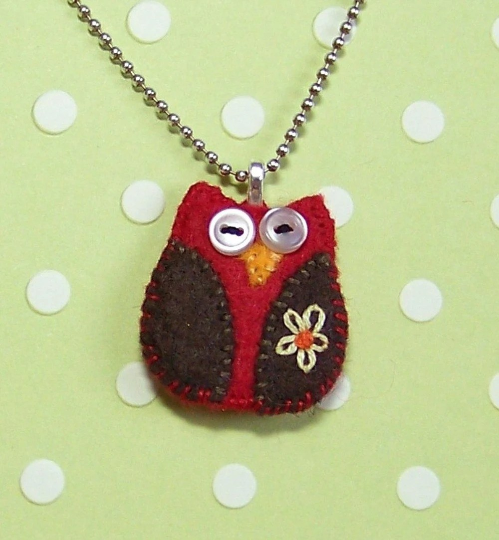 Red & Brown Felt Owl Pendant