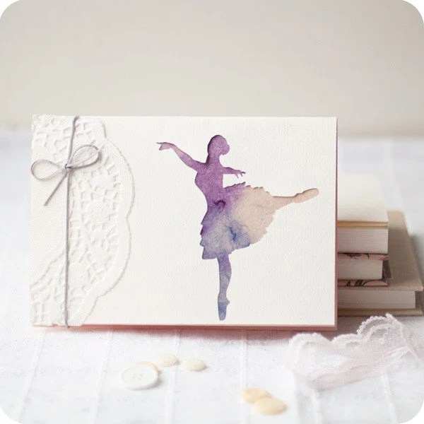 Ballerina - papercut greeting card - 4x6 inches