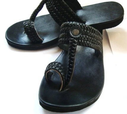 Moroccan Inspired Braided Leather Sandals BLACK