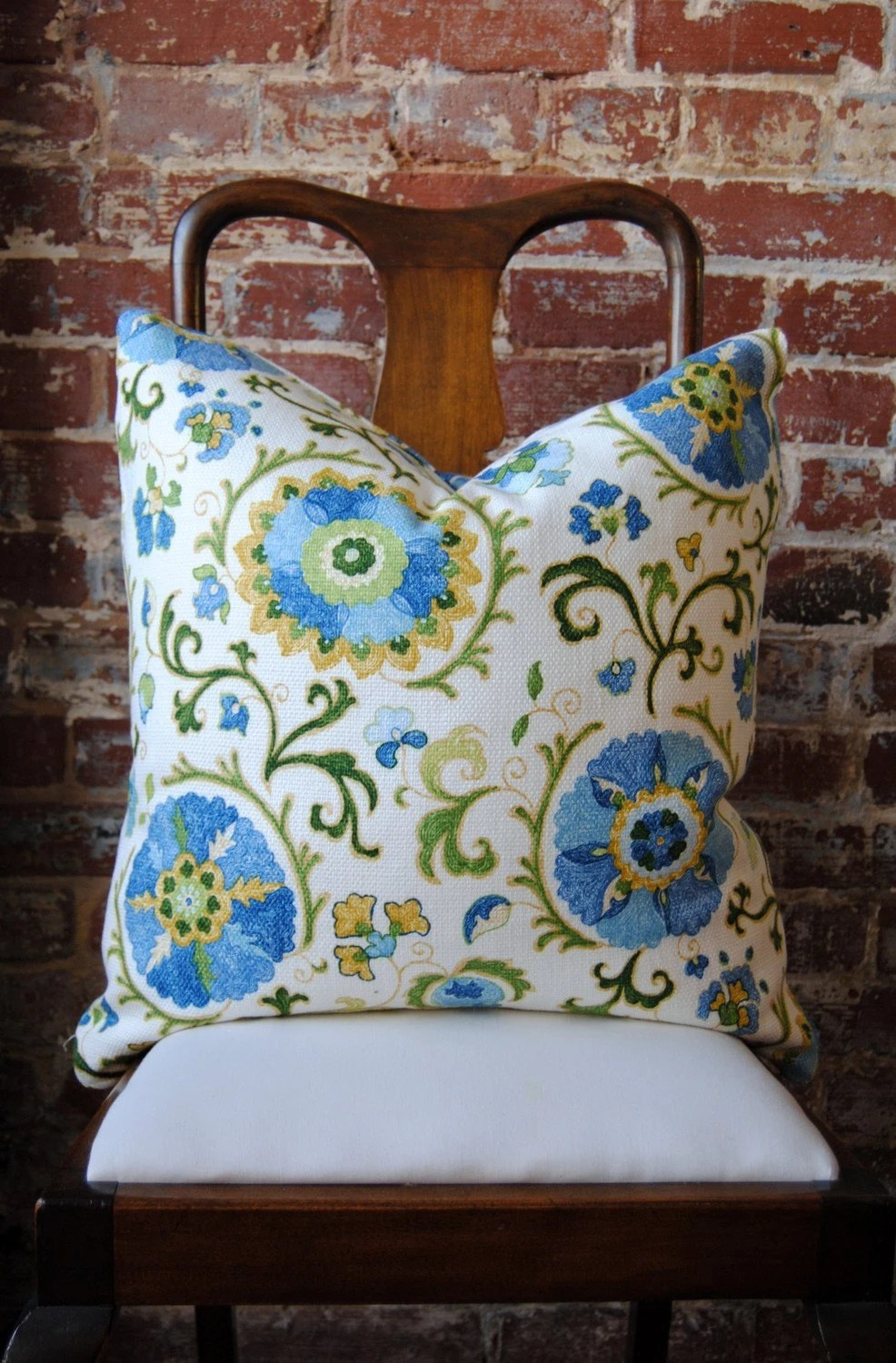 "Sky Blue Suzani Decorator Fabric Pillow - 22""x22"""