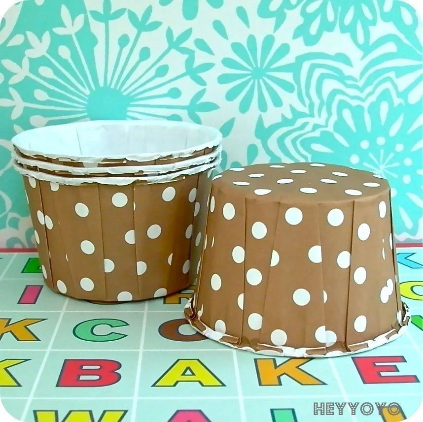 25 Brown Polka Dot Baking Cups/Nut Cups