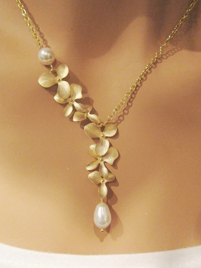 Gold Orchids and Swarovski Pearl Necklace