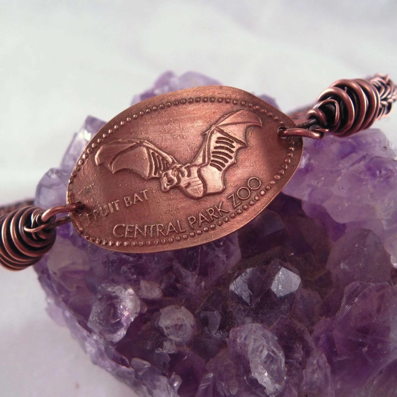 Pressed penny Copper bangle bracelet: Fruit Bat