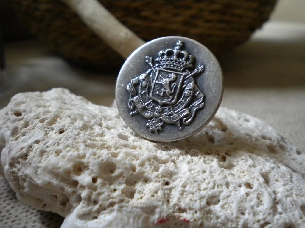Vintage European Military Button Ring by Studio Eleven 11