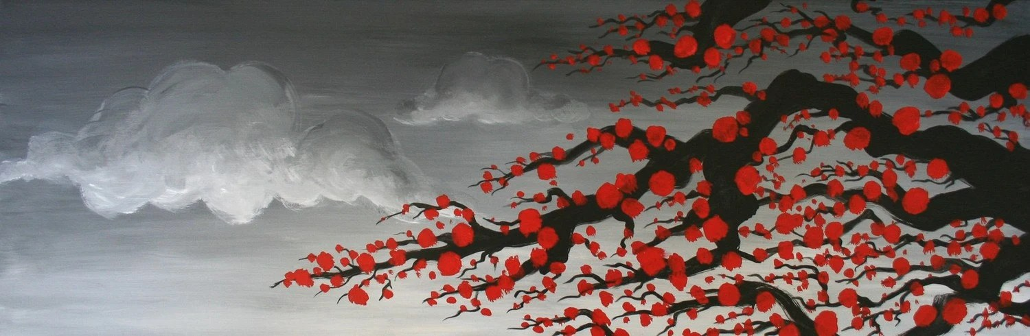 ORIGINAL Stormy Blossom Branches Painting LARGE 12 x 36