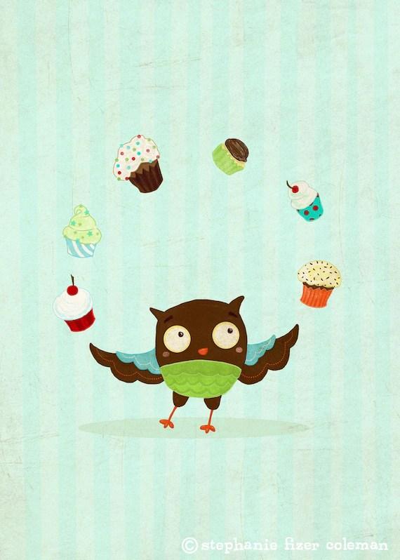 Owl Hearts Cupcakes Print